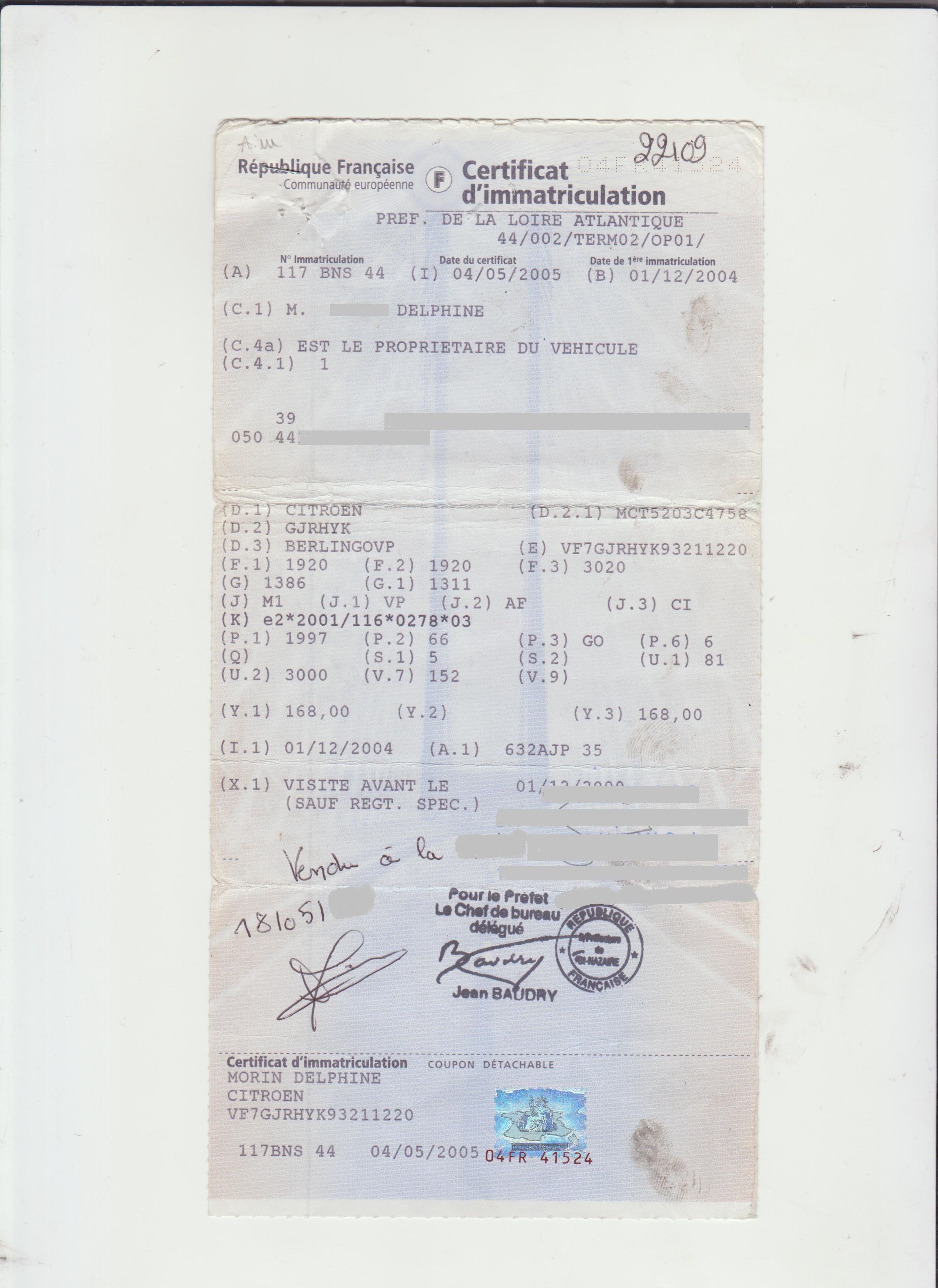 CITROEN BERLINGO 20 L PACK LUXE PH2 GRIS CLAIR METAL 117BNS44