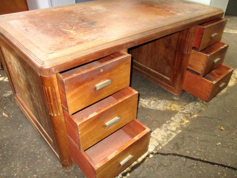 Bureau bois et cuir bureau d occasion aux enchères agorastore