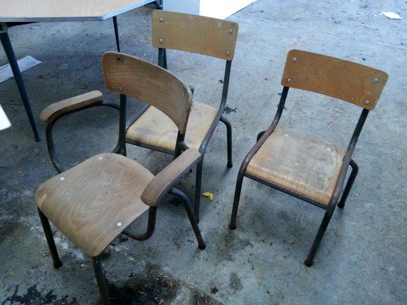 Lot De 11 Chaises Decole Bois Et Metal